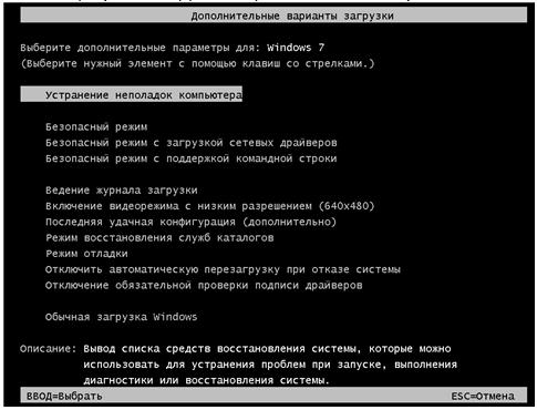 Использование среды восстановления Windows RE в Windows 7.