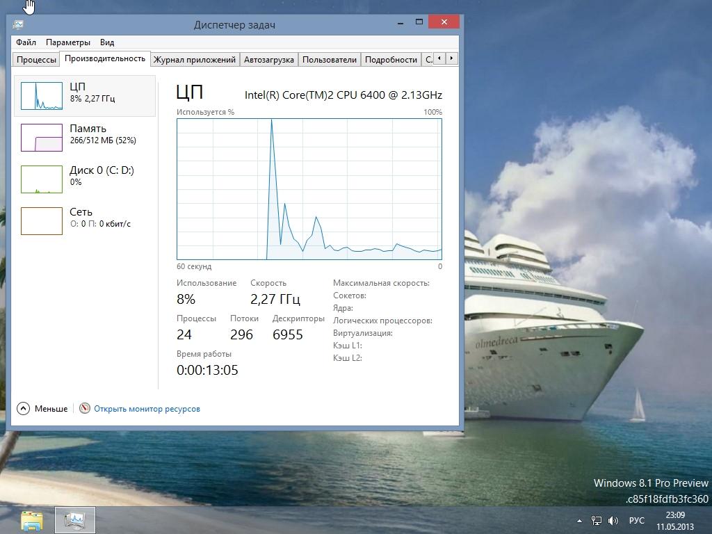 Microsoft Windows 8.1 Pro 6.3 build 9385 x86 LiteCD Desktop by fmla (RUS/2013)
