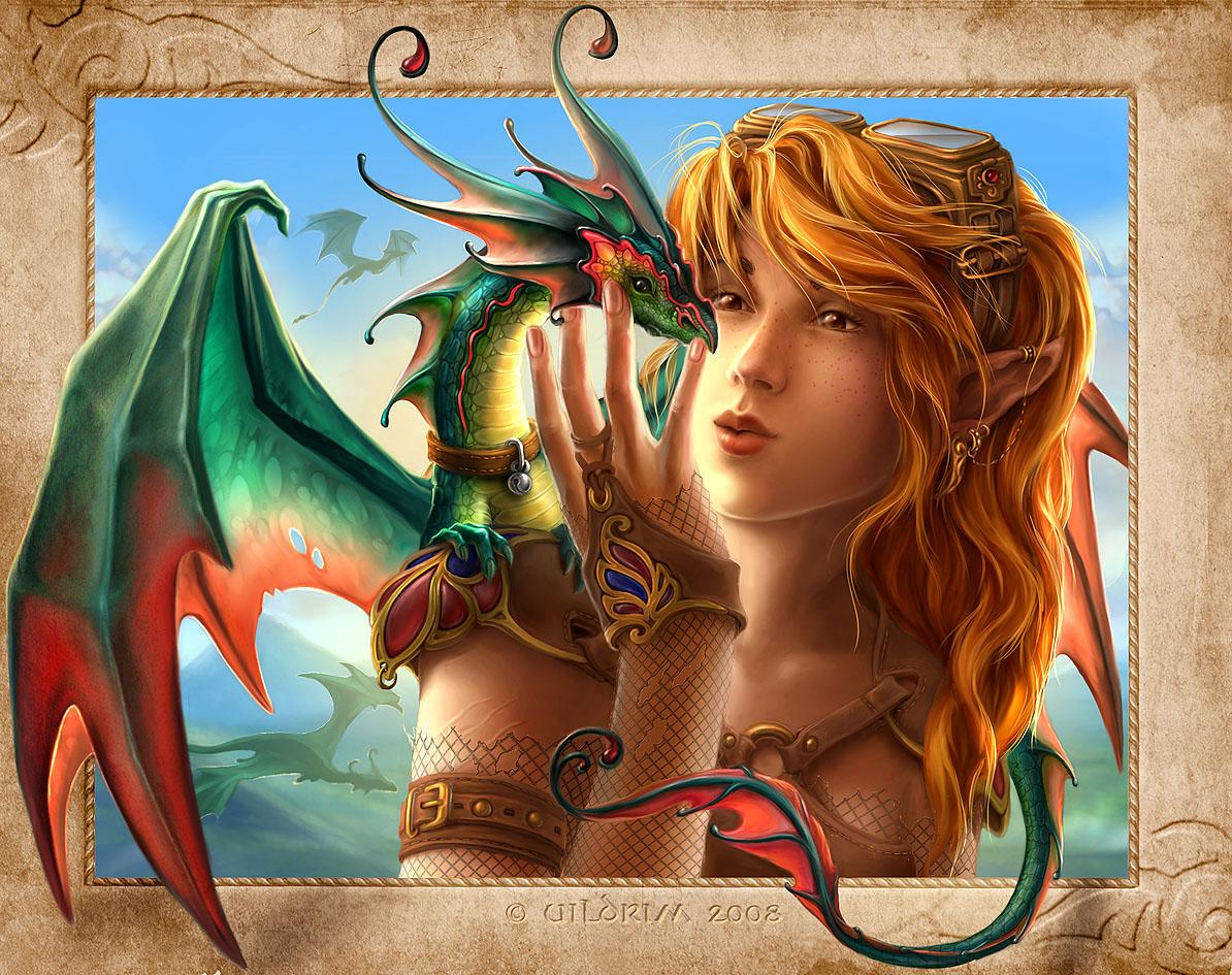 Для того чтобы скачать картинку 421609 - девушка, дракончик, арт