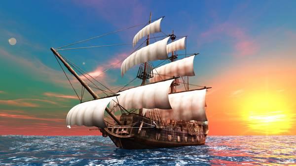 Обои Корабли Море Небо Рассветы и закаты Парусные Горизонт Солнце 3D Графика Природа Фото 333221