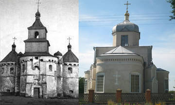 Фото церкви с. Сітківці (XV ст.) і наш час