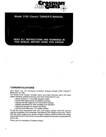 Паспорт и взрыв-схема Crosman 2100...  Для просмотра щелкните левой кнопкой мыши по документу и в открывшемся окне...